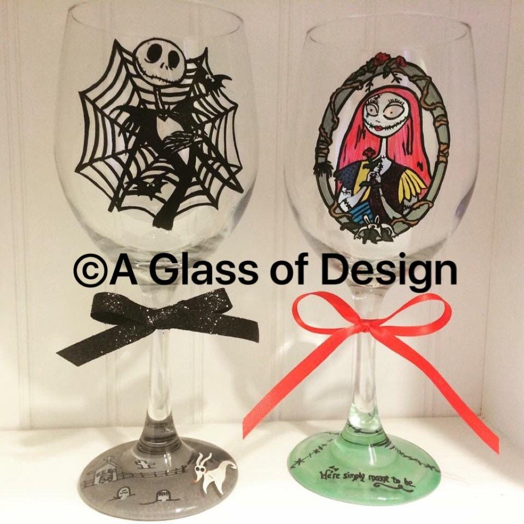 Jack and Sally wine glasses Jack Skellington Nightmare | Etsy