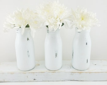 Flower vase etsy white flower vase bud vases milk bottle vases set of 3 farmhouse home decor white home decor small vases kitchen table decor mightylinksfo
