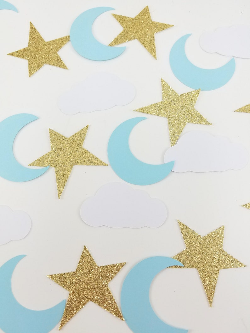 c517877420a Cloud Moon and Stars Baby Shower - Baby Shower Confetti 75 CT - Moon and  Stars - Gender Reveal Decor - Baby Shower Decor - Glitter Confetti