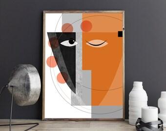 Serenity : Modern Geometric art, Abstract faces Art, Contemporary Art, Mid Century Modern art, Living Room Art, Large wall art, cubist art