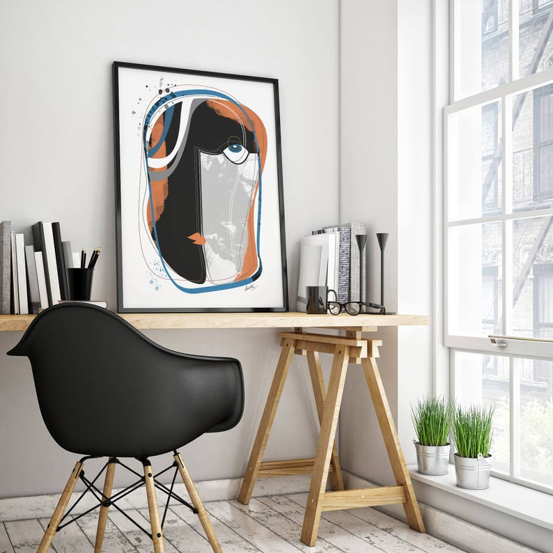 The Face : Modern, Faces Geometric, Abstract Art Print, Contemporary Art,  Mid Century Modern, Gallery Wall Art, Home Decor, Accent Wall Art