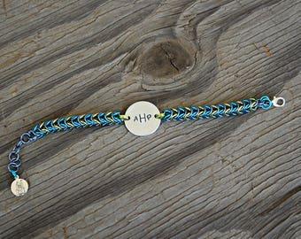 box chain bracelet, stamped metal bracelet, chainmaille bracelet, chainmaille metal stamped bracelet, initials bracelet, chain mail, maille