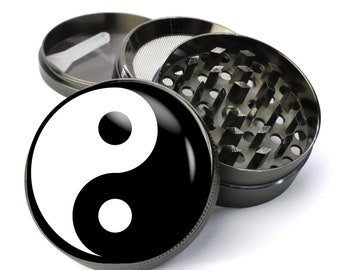 f2ae0572905 Yin Yang Black and White Buddhism Extra Large 5 Piece Spice Tobacco Herb  Grinder with Pollen Keef Catcher - Spirituality Weed Grinders