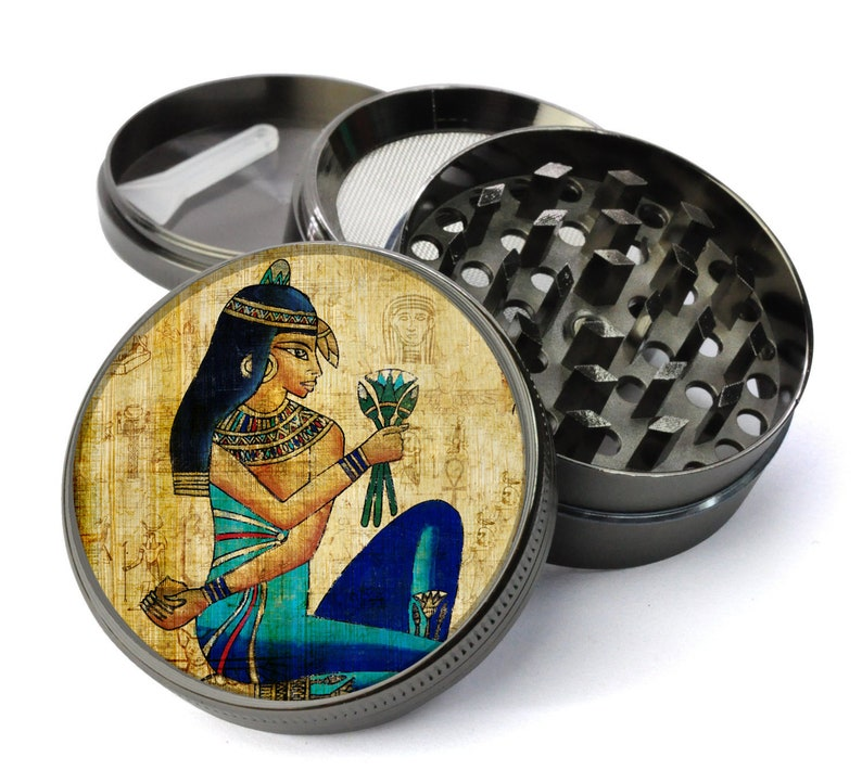 Egyptian Hieroglyph Papyrus with Regal Woman Offering Flowers Extra Large 5 Piece Spice Tobacco Herb Grinder with PollenKeef Catcher
