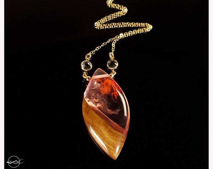 Fire Drop Pendant, swirling red flame resin and reclaimed wood necklace.