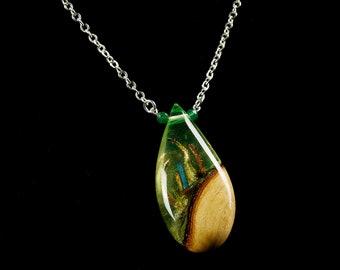 Alien Sea Life Teardrop Terrarium Pendant, resin and wood necklace.