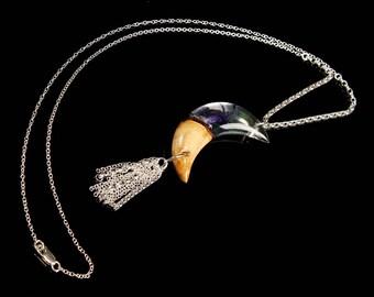 Crescent Moon Terrarium Pendant, long bohemian style tassel necklace.