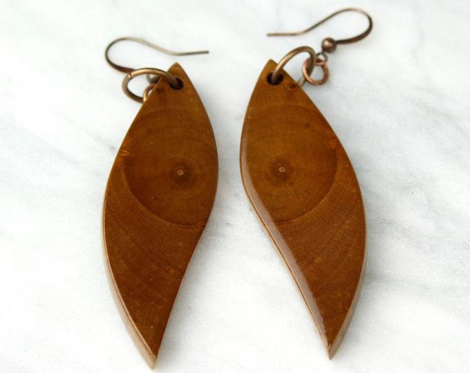 Owl Eye Earrings, wood wing dangle earrings, handmade with reclaimed wood.