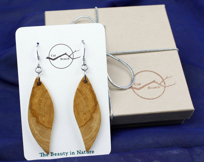 Wood Slice Wing, Dangle Earrings, handmade with reclaimed wood.