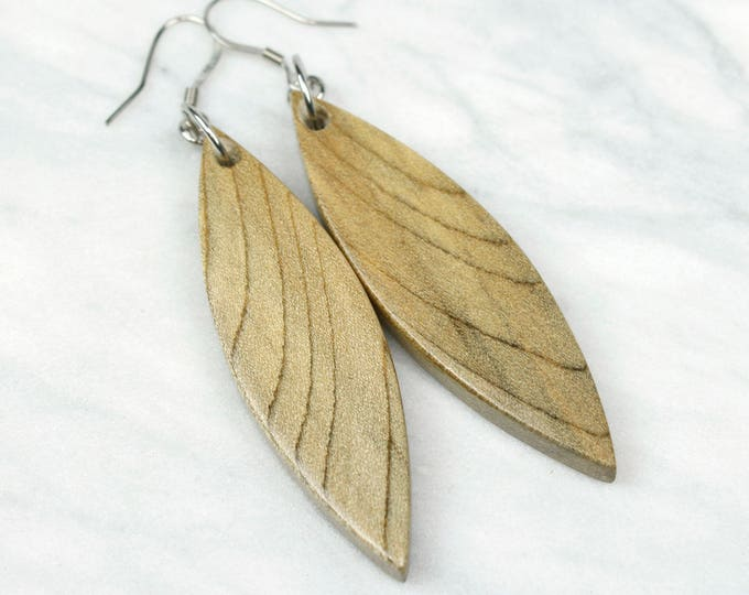 Gray Wood Dangle Earrings, handmade reclaimed wood jewelry.