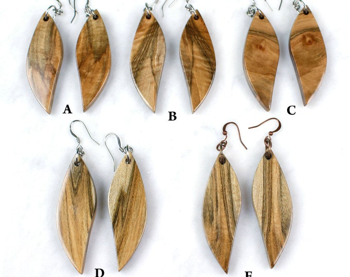 Spalted Maple Woodland Earrings. handmade with reclaimed maple wood.