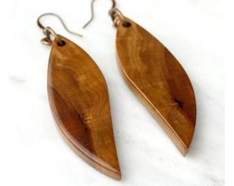 Reclaimed Wood Earrings, wooden wing earrings, handmade dangle earrings.