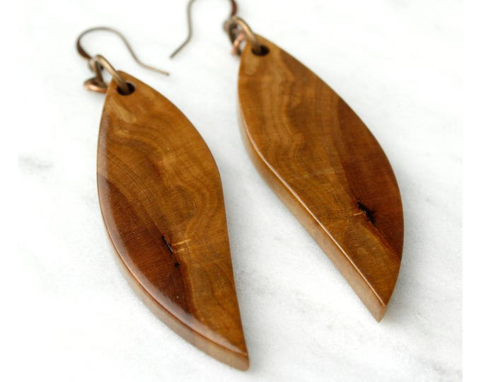 Reclaimed Wood Earrings, wooden wing earrings, handmade dangle earrings.