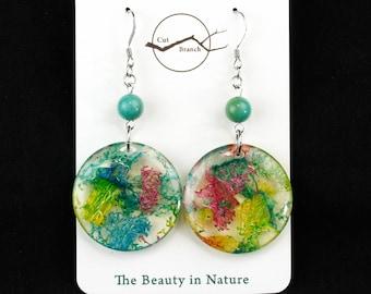 Organic Pattern Earrings, colorful disk earrings, handmade resin jewelry, rainbow, statement earrings, unique dangle earrings