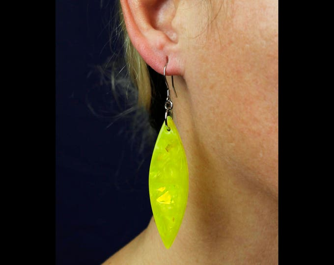 Neon Statement Earrings, handmade resin earrings, fashion jewelry, neon jewelry, yellow earrings, iridescent statement earrings