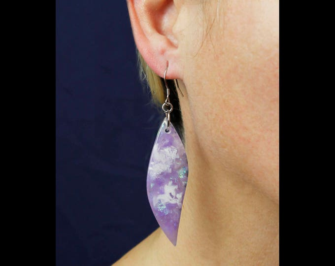 Violet Statement Earrings, resin dangle earrings, purple glittery earrings, fashion jewelry, statement jewelry, unique earrings