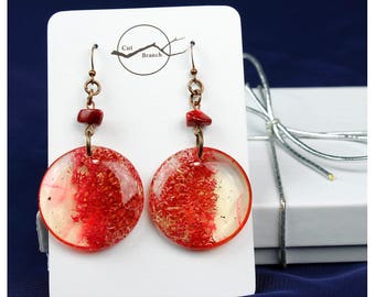 Red Statement Earrings, handmade earrings, unique organic pattern, cosplay gift, fashion jewelry, red jewelry, gift for girlfriend