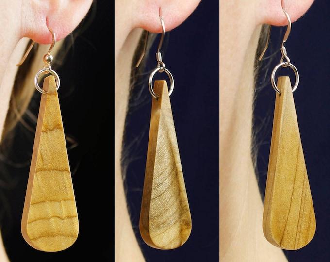 Wooden Dangle Drop Earrings, handmade wooden earrings, reclaimed wood earrings, organic natural wood grain jewelry accessory, gift-for-her