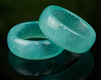 Teal Ocean Ring, handmade resin rings.