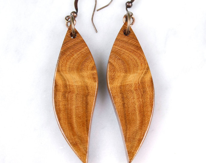 Cherry wood earrings beautiful unique mirror grain pattern earrings nature inspired wood earrings modern rustic wood jewelry fashion