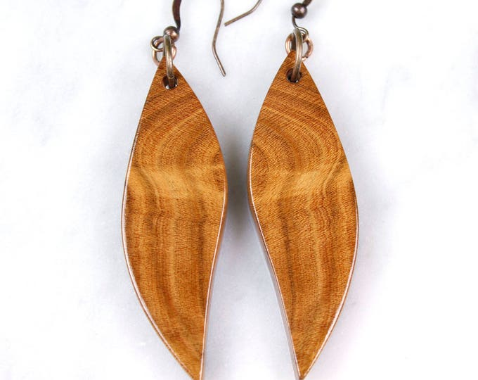 Cherry wood earrings beautiful unique mirror grain pattern earrings nature inspired wood earrings modern rustic wood jewelry fashion