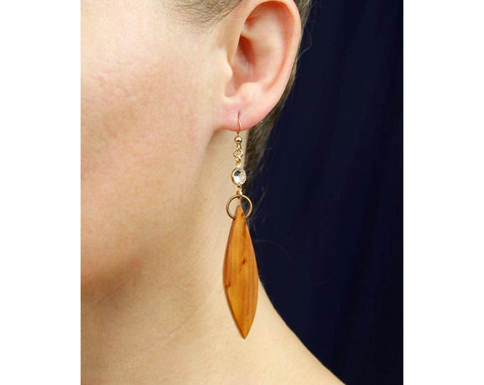 Boho Wood Earrings, wood and crystal bead earrings, dangle earrings, wood jewelry, red cedar wood, handmade nature lovers gift