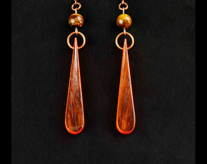 Neon Orange Wood Earrings, wood dangle teardrop earrings, gypsy earrings, unicorn botanical jewelry, nature lover gift idea, wood