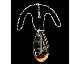 Glowing Thorn Forest Teardrop Pendant, wood & resin necklace.