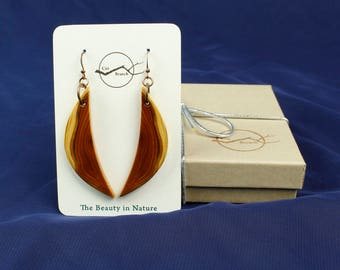 Crescent Moon Dangle earrings, reclaimed wood jewelry, handmade in the USA