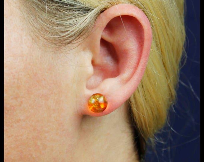 Orange Magma Galaxy stud earrings, handmade resin jewelry.