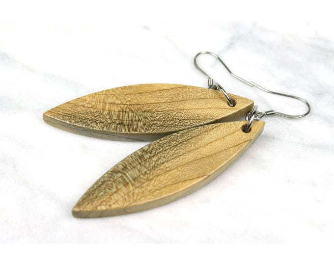 Cottage Chic Wood Earrings, handmade from reclaimed wood.