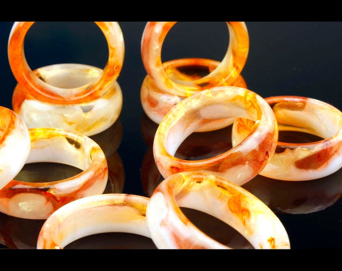 Golden Pizza Swirl Ring, iridescent red orange swirling colors fashion ring resin jewelry handmade in New York unique unisex rings