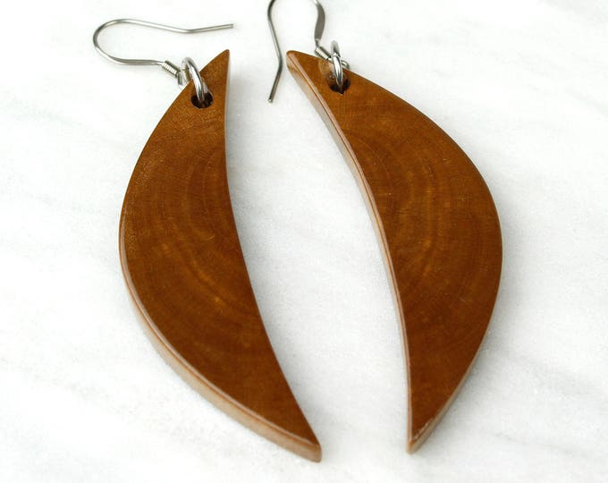 Dark Brown Crescent Moon Earrings, handmade reclaimed wood jewelry.