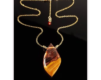 Fire Drop Pendant, red resin and wood necklace.