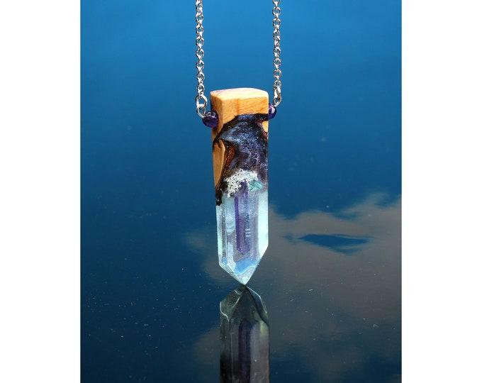 Blue Phantom Crystal Resin and Wood pendant, handmade pendant necklace.