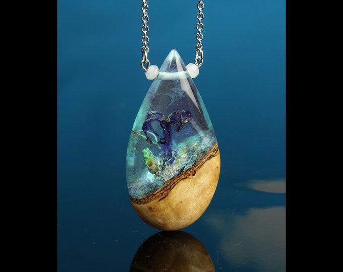 Iridescent Alien Terrarium Pendant, small world jewelry, handmade resin and wood necklace.