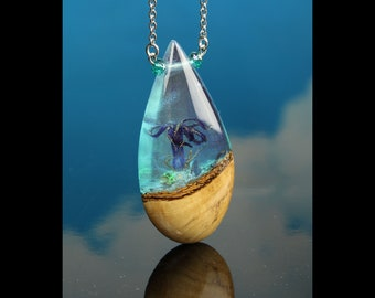 Iridescent Alien Terrarium Pendant, small world jewelry, handmade resin and wood necklace.