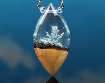 Silver Crystal Forest Pendant, pure silver crystals, terrarium necklace, resin wood pendant, handmade gift for mom, blue silver necklace
