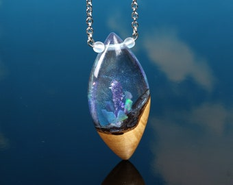 Shimmering Crystal world, opal shards, handmade resin wood pendant, magical terrarium necklace, small crystal world terrarium, iridescent