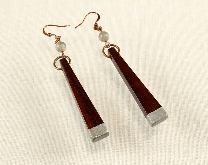 Dark Wood Dangle Earrings, wood jewelry, rosewood earrings, skinny earrings, boho earrings, wooden earrings, reclaimed wood bohemian