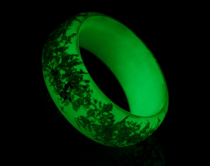 Glowing Pure Silver Crystal Ring, handmade glowing resin refined silver fashion ring glowing jewelry rave party ring everyday ring