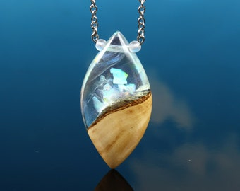 White Rainbow Opal resin wood pendant, handmade mothers day gift, unique magical necklace pendant, aurora opal crystal terrarium world
