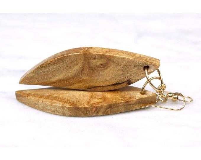 Beautiful Wood Grain dangle earrings, lightweight handcrafted wood earrings.
