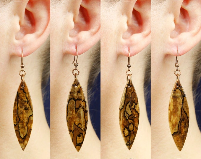 Woodland Earrings, wooden earrings, reclaimed wood earrings, organic natural handmade wooden jewelry, bohemian earrings, boho spring jewelry