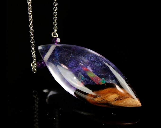Purple Opal Phantom Pendant, aurora opal, resin and wood necklace.