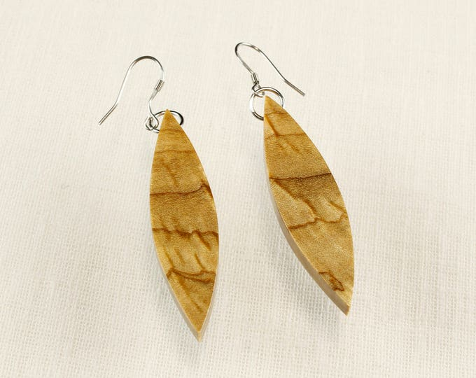 Modern wood fashion earrings crafted from reclaimed wood nature inspired boho earrings gift for mom or girlfriend nature girl accessories