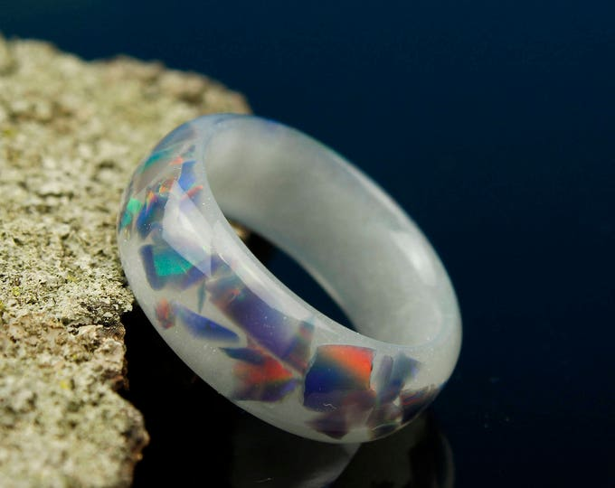 Glowing Aurora Opal Ring, glow in the dark lab opal resin ring, fashion party rave jewelry rainbow opal glowing handmade resin ring
