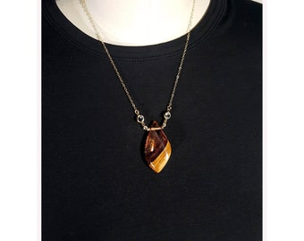 Fire Drop Pendant, fiery red iridescent resin and reclaimed wood necklace.
