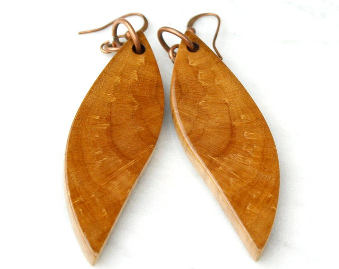 Brown Earrings, unique pattern wood wing earrings, tribal wood earrings, wooden statement earrings, wood slices, wood grain unique gift
