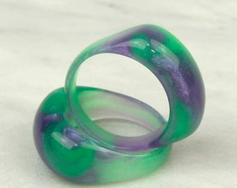 Neon Green Nebula Ring (round face)